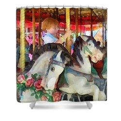 Little Boy On Carousel Shower Curtain by Susan Savad