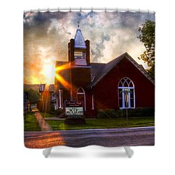 Little Brick Chapel Shower Curtain by Debra and Dave Vanderlaan