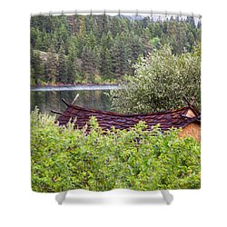 Little Cabin On A Lake Shower Curtain by Omaste Witkowski