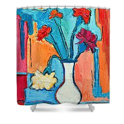 Little Carnations China Pink Flowers Shower Curtain by Ana Maria Edulescu