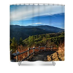 Shower Curtain featuring the photograph Little Cataloochee Overlook In Summer by Debbie Green