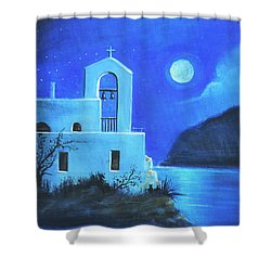 Little Church By The Sea Shower Curtain