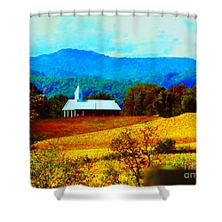 Little Church In The Mountains Of Wv Shower Curtain