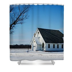 Little Church On The Prairie Shower Curtain