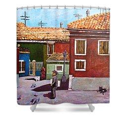 Little Corner Of Venice Shower Curtain by Caroline Street