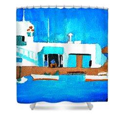 Paros  Cute Spot On Greek Island Shower Curtain