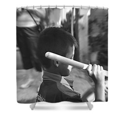 Shower Curtain featuring the photograph Little Drummer by Michelle Meenawong
