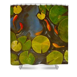 Little Fish Koi Goldfish Pond Shower Curtain