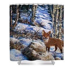 Shower Curtain featuring the painting Little Fox by Megan Walsh