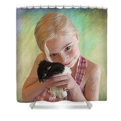 Little Girl And Pet Rat Shower Curtain by Angela A Stanton