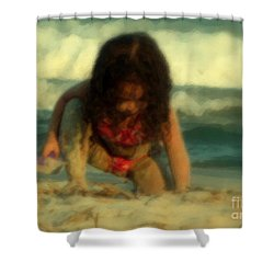 Shower Curtain featuring the photograph Little Girl At The Beach by Lydia Holly