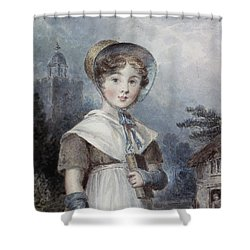 Little Girl In A Quaker Costume Shower Curtain by Isaac Pocock