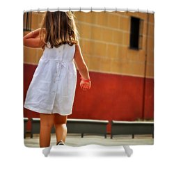 Little Girl In White Dress Shower Curtain by Mary Machare
