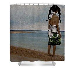 Little Girl On The Beach Shower Curtain