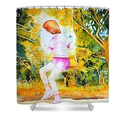 Little Girl On The Park Swing Westmount Quebec City Scene Montreal Art Shower Curtain by Carole Spandau