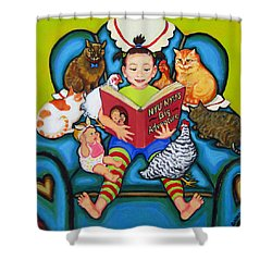 Little Girl Reading To Doll Cats Chickens Shower Curtain by Rebecca Korpita
