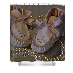 Little Girls To Pearls Shower Curtain by Sharon Elliott