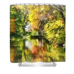 Little House By The Stream In Autumn Shower Curtain by Susan Savad