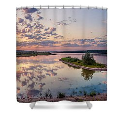 Little Island On Sunset Shower Curtain