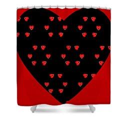 Shower Curtain featuring the digital art Little Kaleidoscope Hearts by Pete Trenholm