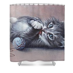 Shower Curtain featuring the painting Little Mischief by Cynthia House