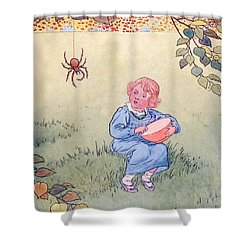 Little Miss Muffet Shower Curtain by Leonard Leslie Brooke