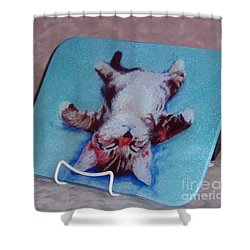 Little Napper Cutting And Serving Board Shower Curtain by Pat Saunders-White