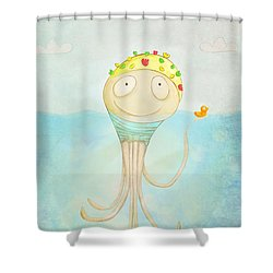 Little Octopus The Swimming Champ And His Rubber Ducky Shower Curtain