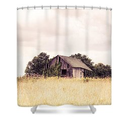 Shower Curtain featuring the photograph Little Old Barn In A Field - Landscape  by Gary Heller