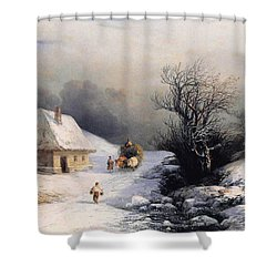 Little Oxcart Shower Curtain by Ivan Constantinovich Aivazovsky