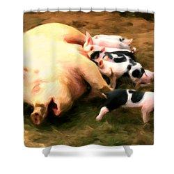 Little Piggies Shower Curtain by Michael Pickett