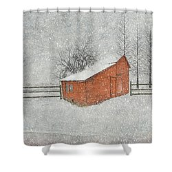 Little Red Barn Shower Curtain