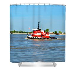 Little Red Boat On The Mighty Mississippi Shower Curtain