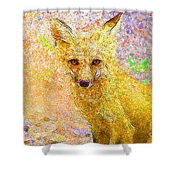 Little Red Fox Shower Curtain by Claire Bull