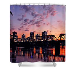 Little Rock Bridge Sunset Shower Curtain by Mitchell R Grosky