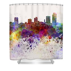 Little Rock Skyline In Watercolor Background Shower Curtain by Pablo Romero