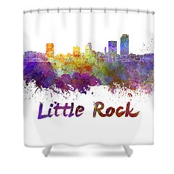 Little Rock Skyline In Watercolor Shower Curtain by Pablo Romero