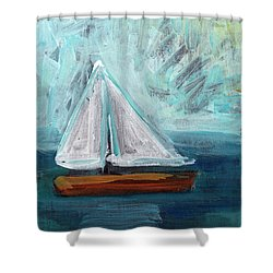 Little Sailboat Expressionist Painting Shower Curtain
