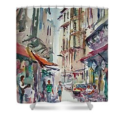 Shower Curtain featuring the painting Little Trip At Exotic Streets In Istanbul by Faruk Koksal