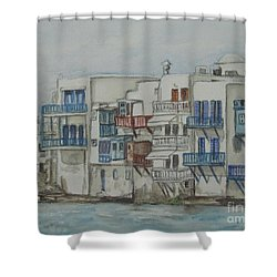 Shower Curtain featuring the painting Little Venice Mykonos Greece by Malinda  Prudhomme