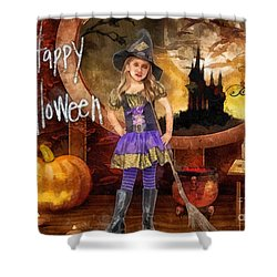 Little Witch Shower Curtain by Mo T