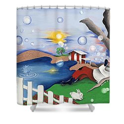 Live Out The Bubble Shower Curtain by Patricia Sabree