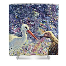 Living Between Beaks Shower Curtain by James W Johnson