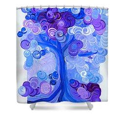 Liz Dixon's Tree Blue Shower Curtain by First Star Art