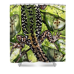Shower Curtain featuring the painting Lizard In Green Nature - Elena Yakubovich by Elena Yakubovich
