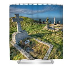 Llanbadrig Cemetery Shower Curtain by Adrian Evans