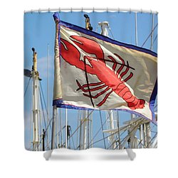 Lobster Flag At The Point Shower Curtain by Mary Carol Williams