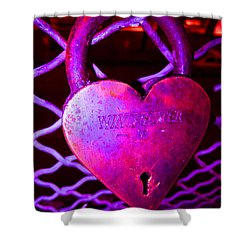 Lock Of Love In Pink Shower Curtain by Kym Backland
