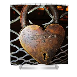 Lock Of Love Shower Curtain by Kym Backland
