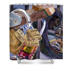 Shower Curtain featuring the painting Locks Of Luck by Lynne Reichhart